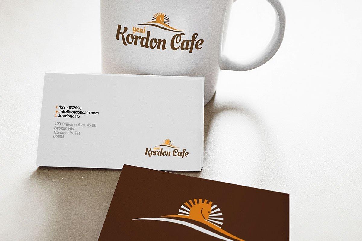 yeni kordon cafe, kartvizit tasarım, kupa bardak baskı, kurumsal kimlik, logo tasarım